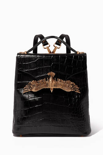 10616c855d Moni   J. Black Croc-Embossed Leather Backpack