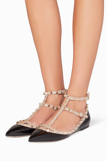 hover state of Black Double-Strap Rockstud Ballerinas