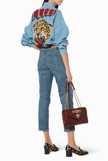 hover state of Blue Oversize Embroidered Shirt