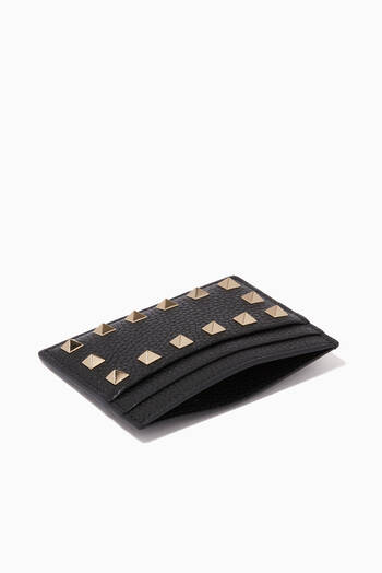 hover state of Rockstud Card Holder in Grainy Leather