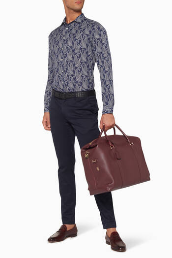 hover state of Burgundy Delta Leather Weekend Bag