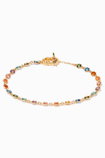 hover state of Yellow-Gold & Multi-Coloured Stone Bracelet