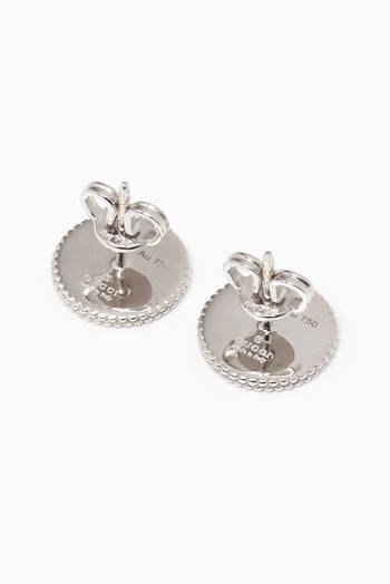 hover state of White-Gold & Enamel Icon Stud Earrings