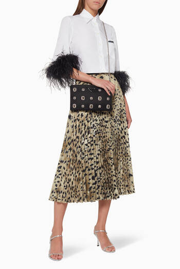 hover state of Leopard Print Pleated Skirt