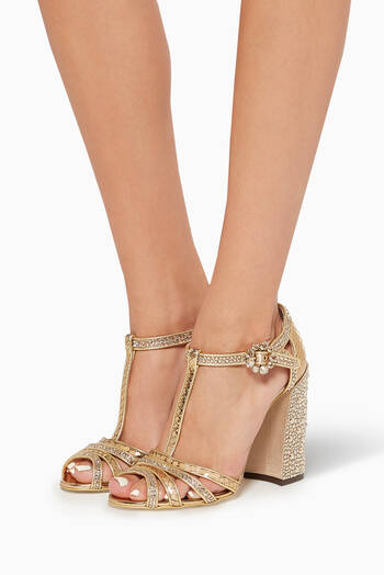 hover state of Keira Rhinestone & Mirror Leather Sandals