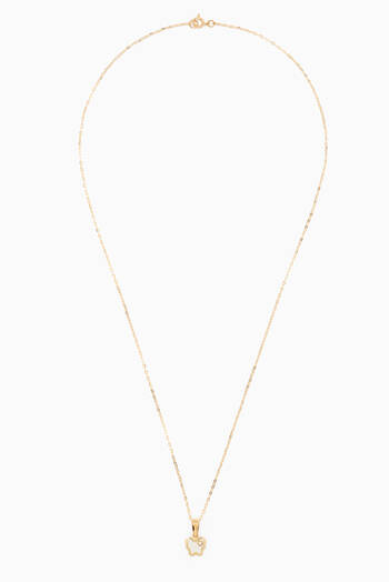 hover state of Butterfly Diamond Pendant Necklace in 18kt Yellow Gold
