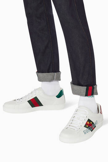 hover state of Ace Gucci Band Leather Sneakers