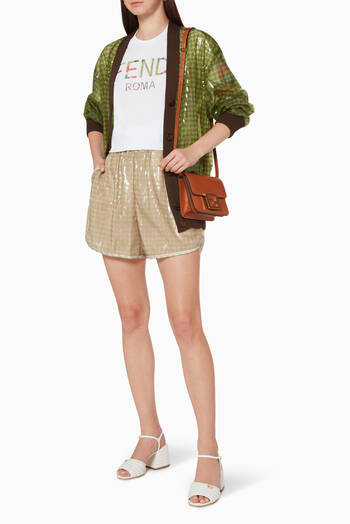 hover state of Vichy-Check Sequined Shorts