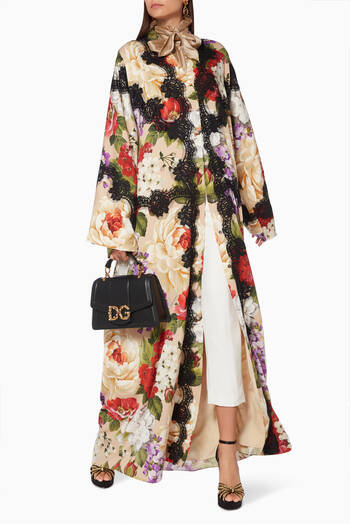hover state of Floral Silk Dress Abaya
