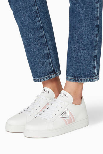 hover state of Triangle Logo Leather Sneakers