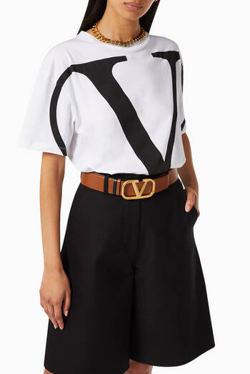 hover state of Valentino Garavani VLOGO Reversible Belt in Glossy Leather, 40mm