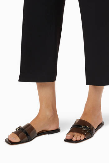 hover state of Gemini Flat Sandals in Patent Leather