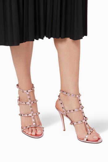 hover state of Valentino Garavani Rockstud Sandals in Metallic Nappa