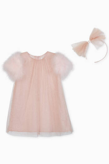 hover state of Faux Feather Tulle Dress