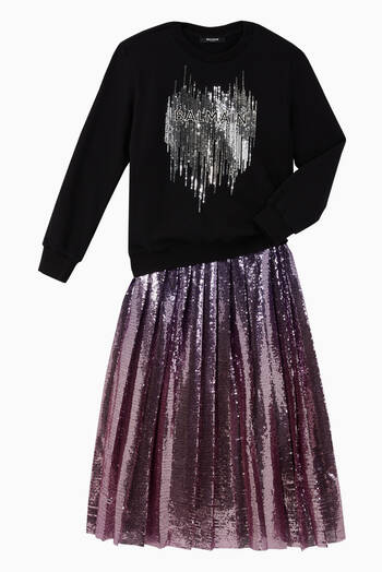 hover state of Sequin Tulle Pleated Skirt