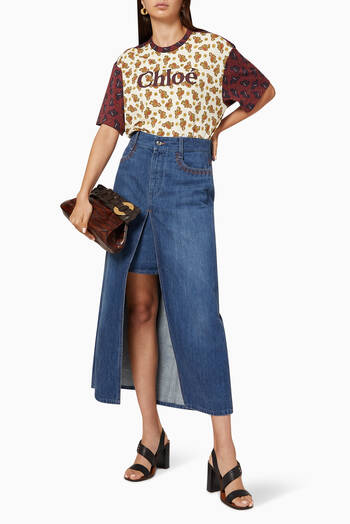 hover state of A-Line Organic Denim Long Skirt