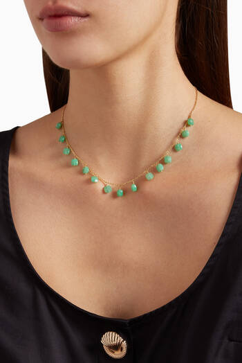 hover state of Chrysoprase Charm Necklace in 18kt Yellow Gold