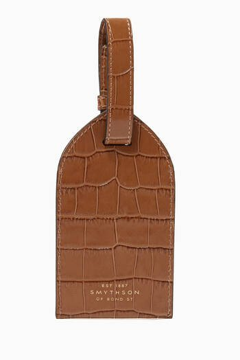hover state of Luggage Tag in Mara Croc-Embossed Leather
