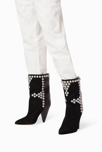 hover state of Layo Studded Boots in Mixed Leather