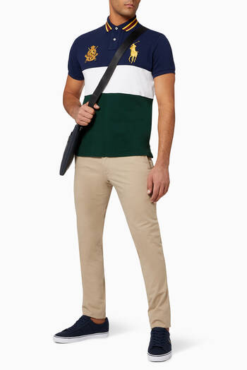 hover state of Custom Slim Crest Cotton Mesh Polo