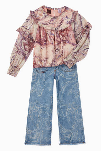 hover state of High-Waisted Marble Denim Jeans