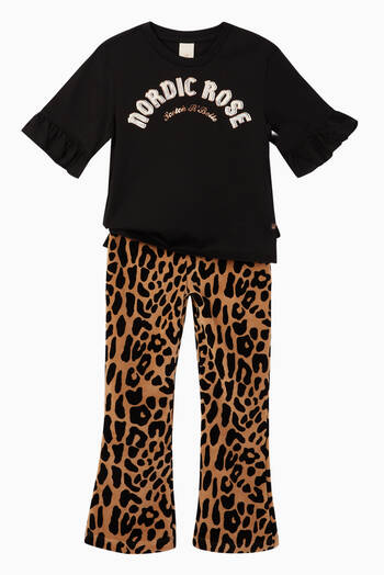hover state of Velvet Leopard Print Flared Pants