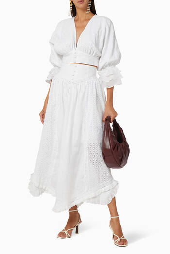 hover state of Brydie Linen Midi Skirt