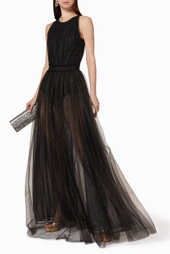 hover state of Glittered Tulle Maxi Dress