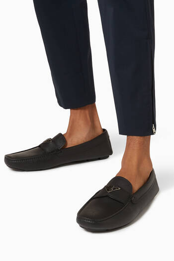 hover state of Triangle Logo Loafers in Saffiano Leather
