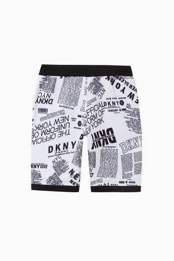 hover state of Newspaper Print Shorts in Cotton