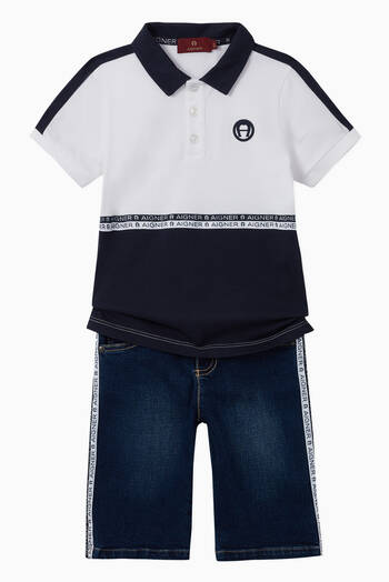 hover state of Logo Stripe Stretch Cotton Shorts
