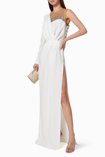 hover state of Asymmetric Crêpe Maxi Dress