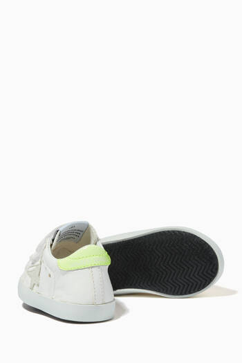 hover state of Baby School Sneakers with Suede Star and Fluorescent Yellow Heel Tab