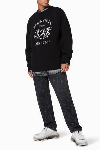 hover state of Marathon Sport Crewneck Sweater in Wool Knit