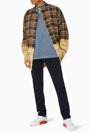 hover state of Logo Loose Linen Flannel Overshirt