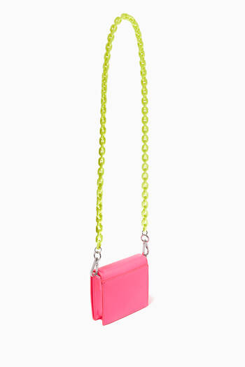 hover state of Logo Shoulder Bag in Patent Faux Leather