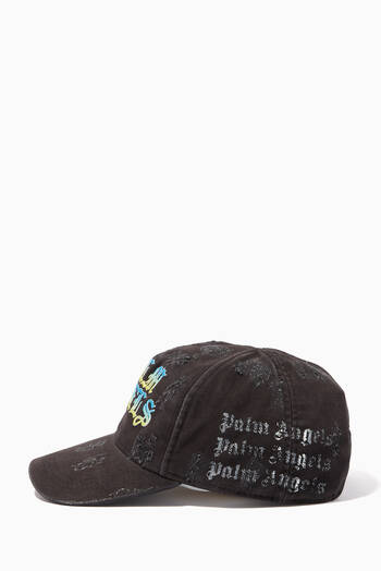 hover state of Gothic Logo Distressed Baseball Cap in Cotton