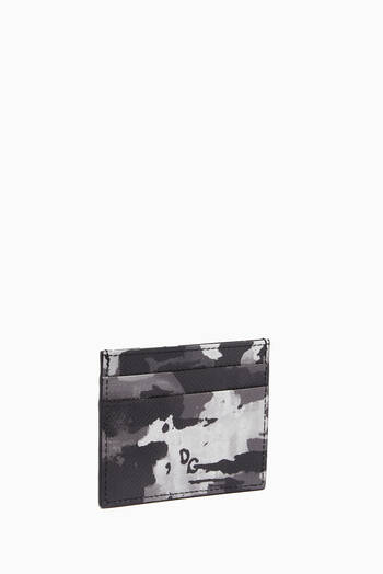 hover state of Card Holder in Camouflage Dauphine Leather