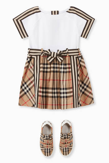 hover state of Vintage Check Detail Cotton Dress