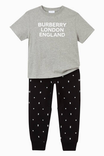 hover state of Star & Monogram Motif Cotton Jogger Pants