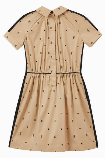 hover state of Star & Monogram Motif Stretch Cotton Dress