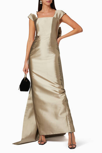 hover state of Vivienne Silk & Wool Convertible Column Gown