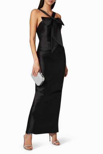 hover state of Eva Silk and Wool Column Gown