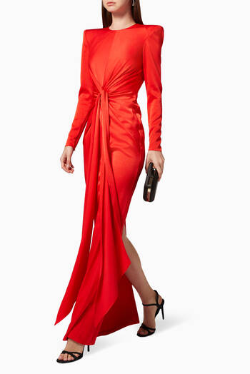 hover state of Graves Column Gown in Satin Crepe