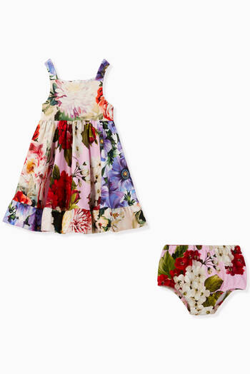 hover state of Floral Cotton Interlock Dress with Bloomers