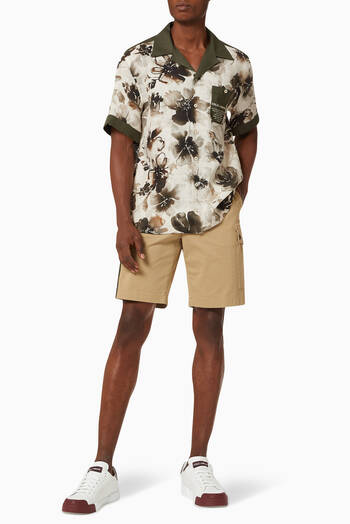hover state of Hawaiian Shirt in Floral Camo-print Linen