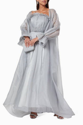 hover state of Pleated Dress & Organza Abaya Set
