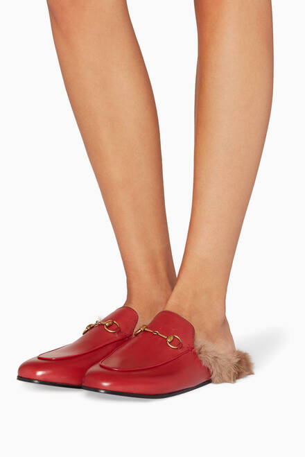 hover state of Red Leather Princetown Loafers