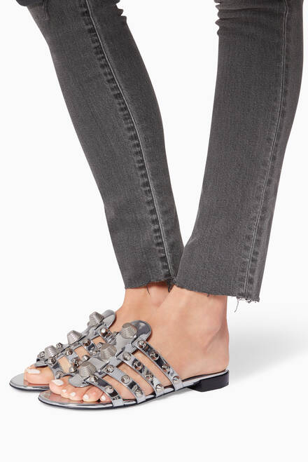 hover state of Silver Arena Giant Flat Sandals