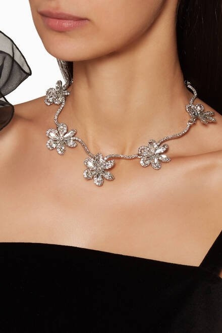 hover state of Silver Delicate Flower Necklace